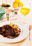 Duck filet with glazed pears Stock Image