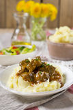 Duck filet in gravy with vanilla served with mashed potatoes Royalty Free Stock Photos