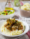 Duck filet in gravy with vanilla served with mashed potatoes Stock Photography