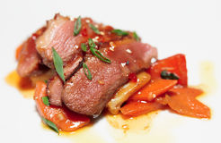 Duck fillet with savory sauce stock image