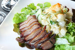 Duck fillet steak salad Royalty Free Stock Photography