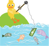 Duck fishing a banknote Royalty Free Stock Photo