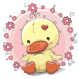 Duck with flowers. Greeting card Duck with flowers on a pink background vector illustration