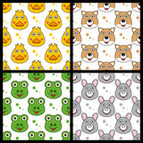 Duck Fox Frog Rabbit Seamless Arkivbild