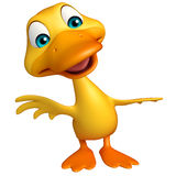 Duck funny cartoon character Stock Image