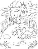 Duck and goat. Black-and-white illustration (coloring page): funny goat on a wood bridge and duck swimming in a brook vector illustration