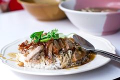 Duck grilled with Rice in Thailand Morning Food Royalty Free Stock Photos