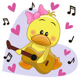 Duck with guitar. Duck with a guitar on background music and hearts vector illustration