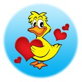 Duck with hearts. Color illustration of duck holding red heart Stock Photo