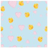 Duck with Hearts Seamless Royalty Free Stock Photos