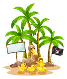 A duck and her ducklings near the signboard under the tree Stock Photo