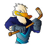 Duck hockey player. Royalty Free Stock Photo