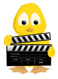 Duckling holding clapperboard. An illustration or cartoon of a yellow duck or duckling holding a movie clapperboard used to synchronize sound and picture in Stock Photos