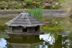 Duck house on pond. Royalty Free Stock Photography