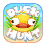 Duck hunt sticker. App icon with funny crazy yellow bird. Game design asset vector illustration