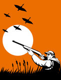 Duck Hunter aiming shotgun. Vector illustration of a bird game Hunter aiming a shotgun with duck flying in the background Royalty Free Stock Photos