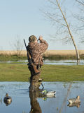 Duck Hunter calling ducks Stock Images
