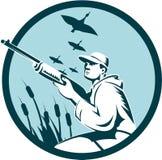 Duck Hunter Rifle Circle Retro Stock Image