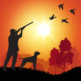 Duck hunter. Silhouette of men on the duck hunting. Vector illustration vector illustration