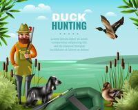 Duck Hunting Illustration. Man in boots with gun for duck hunting, hound and oar boat on river coast vector illustration Royalty Free Stock Photo