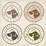 Duck hunting retriever negative  grunge labels set Stock Photos