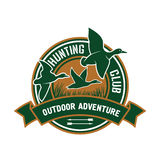Duck hunting retro badge for hunters club design Royalty Free Stock Photos