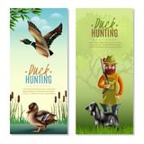 Duck Hunting Vertical Banners. Including man with shotgun and dog, birds on nature background  vector illustration Stock Photo