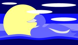 Duck on lake. Image representing a duck swimming on a lake. A simple background about this animal Stock Illustration