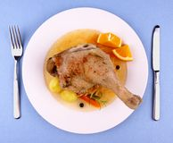 Duck leg with braised cabbage, potato and gravy Royalty Free Stock Image