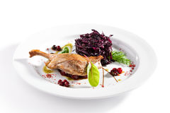 Duck Leg with Salad. Duck Leg with Beetroot Salad royalty free stock photos