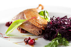Duck Leg with Salad. Duck Leg with Beetroot Salad royalty free stock photo