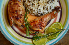 Duck legs with rosemary, lime and rice garnish. Roasted duck legs with rosemary, lime and rice garnish on the big bright plate royalty free stock photo
