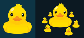 Duck and little duck. Duck and little duck, mother's love, warm family, mom and child, vector, cartoon cute illustration Royalty Free Stock Image