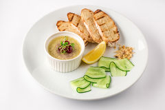 Duck liver pate with croutons, slices of lemon and thinly sliced cucumber royalty free stock photos