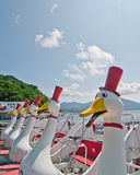 Duck los barcos en el lago Toya, Hokkaido, Japón Fotografía de archivo libre de regalías