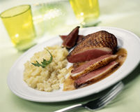 Duck magret with mashed potatoes Stock Photo