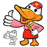 Duck Mascot the Left hand best gesture. Bird Character Design Se Stock Photo