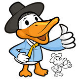 Duck Mascot the Right hand best gesture Royalty Free Stock Photography