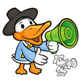 Duck Mascot the right hand is holding a loudspeaker. Bird Charac Royalty Free Stock Photos