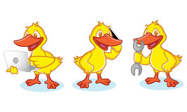 Duck Mascot Vectr with phone Royalty Free Stock Images