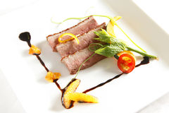 Duck meal. With dish decoration Royalty Free Stock Images
