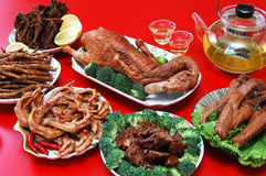 Duck meal. All duck meal with legs, wings, and vegetable royalty free stock image