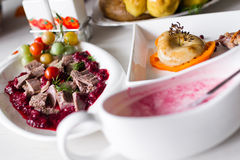 Duck meat with cherry sauce Stock Photos