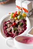 Duck meat with cherry sauce Royalty Free Stock Photography