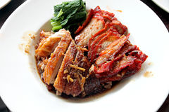 Duck meat and pork in white dish. Royalty Free Stock Photos
