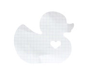 Duck memo note paper isolate (clipping path) Royalty Free Stock Photography