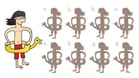 Duck Mirror Shadows Visual Game de borracha Imagens de Stock