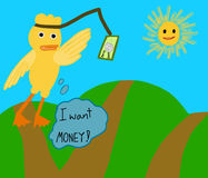Duck need money Royalty Free Stock Photo