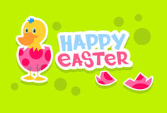 Duck New Born Egg Happy Easter Holiday Banner Colorful Greeting Card Flat Royalty Free Stock Image