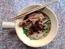 Duck noodle. Duck noodle in bowl with chopsticks royalty free stock photos